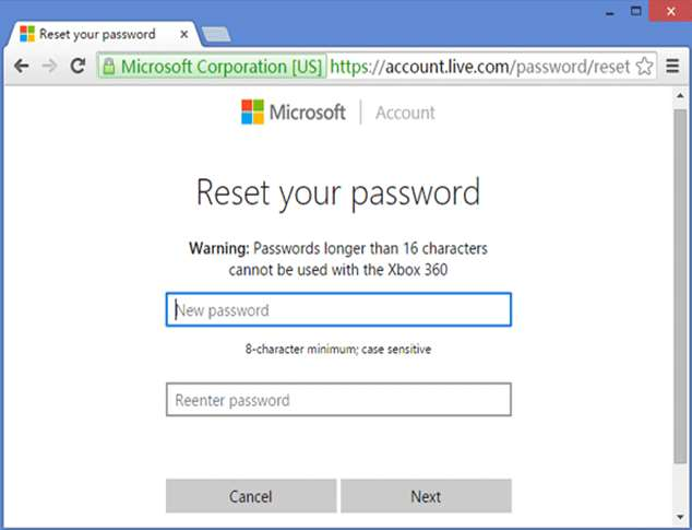 Account live password reset window 10