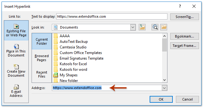 Hyperlinks in Outlook: